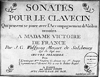 0114351 © Granger - Historical Picture ArchiveMOZART: SONATAS.   Frontispiece for a collection of sonatas for harpsichord by Wolfgang Amadeus Mozart, decicated to Madame Victoire, daughter of King Louis XV of France, 1764.