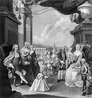 0040030 © Granger - Historical Picture ArchiveMARIA THERESA AND FRANCIS I   of Austria with their children, 1756. The future Emperor Joseph II stands on the Empress's right; in the cradle is the Archduchess Marie Antoinette, future Queen of France. Miniature on parchment, c1760, by Antonio Bencini, after a painting by Martin van Meytens.