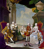0126527 © Granger - Historical Picture ArchiveMARIA THERESA (1717-1780).   Archduchess of Austria and Queen of Hungary and Bohemia. Family of Empress Maria Theresa and Francis I, including eleven of her sixteen children. Painting by Martin von Meytens, c1754.