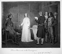 0088999 © Granger - Historical Picture ArchiveMARIE ANTOINETTE (1755-1793).   Queen of France, 1774-1792.  Marie Antoinette at the Conciergerie. Mezzotint, 1881, after C.L. Muller.