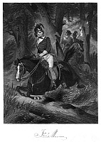 0038366 © Granger - Historical Picture ArchiveFRANCIS MARION (1732?-1795).   American Revolutionary commander, leading his troops through a South Carolina forest: colored engraving, 19th c.