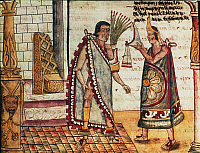 0027534 © Granger - Historical Picture ArchiveMONTEZUMA II: CORONATION.   The coronation of the Aztec emperor Montezuma II in 1502. Illustration, 1579, by the Dominican friar Diego Duran.