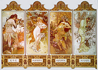 0036551 © Granger - Historical Picture ArchiveMUCHA: FOUR SEASONS, c1897.   'The Four Seasons' (from left: summer, spring, autumn, winter). Lithograph poster, c1897 by Alphonse Mucha.