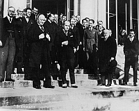 0174429 © Granger - Historical Picture ArchiveLAUSANNE CONFERENCE, 1922.   Front, left to right: British Foreign Secretary Lord George Curzon, Italian Prime Minister Benito Mussolini and French Prime Minister Raymond Poincaré, photographed after a meeting of the Lausanne Conference in Lausanne, Switzerland, 4 December 1922.