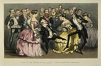 0035738 © Granger - Historical Picture ArchiveNAPOLEON III AT A BALL.   'A Ball at the Palace of the Elysee.' Cartoon, 1851, showing Napoleon III (center, with purple sash) and his cousin, Prince Napoleon, observing the political dance of French statesmen Louis Adolphe Thiers and André Dupin.