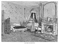 0267761 © Granger - Historical Picture ArchiveNAPOLEON III (1808-1873).   Emperor of the French, 1852-1871. Bedroom at the home in Camden Place, Chislehurst, England in which the emperor died on 9 January 1873. Contemporary English engraving.