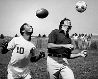 0051849 © Granger - Historical Picture ArchiveJOE NAMATH (1943- ).   American football player. Publicity photograph, c1975, with star soccer player Pelé (on left).