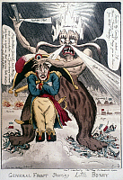 0021302 © Granger - Historical Picture ArchiveNAPOLEON BONAPARTE   (1769-1821). Emperor of France, 1804-1814. 'General Frost Shaving Little Boney.' English cartoon, December 1812, on Napoleon's retreat from Russia.