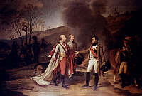 0029882 © Granger - Historical Picture ArchiveNAPOLEON BONAPARTE   (1769-1821). Emperor of France, 1804-1814. Napoleon meeting Emperor Francis II of Austria following the Battle of Austerlitz, 4 December 1805. Oil on canvas by Baron Antoine-Jean Gros.