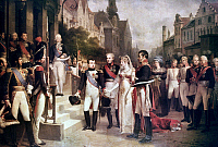 0039437 © Granger - Historical Picture ArchiveNAPOLEON BONAPARTE   (1769-1821). Emperor of France, 1804-1814. Receiving Queen Louise of Prussia at Tilsit, 1807. Oil on canvas, 1837, by Nicolas Gosse.