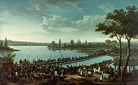 0045111 © Granger - Historical Picture ArchiveNAPOLEON BONAPARTE   (1769-1821). Emperor of France, 1804-1814. Passage of the Danube before the Battle of Wagram, 1809. Oil on canvas by Jacques François Joseph Swebach (1769-1823).