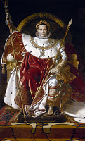 0052478 © Granger - Historical Picture ArchiveNAPOLEON BONAPARTE   (1769-1821). Emperor of France, 1804-1814. Napoleon in coronation robes. Oil on canvas, 1806, by Jean Auguste Dominique Ingres.