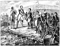 0057368 © Granger - Historical Picture ArchiveNAPOLEON AT TILSIT, 1807.   Emperor Napoleon I, Czar Alexander I of Russia and King Frederick Wilhelm of Prussia meet at Tilsit, Prussia, on a raft in the Niemen River, July 1807. German engraving, 19th century.