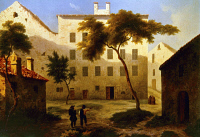 0323464 © Granger - Historical Picture ArchiveNAPOLEON BONAPARTE   (1769-1821). Emperor of France, 1804-1814. The Bonaparte family home in Ajaccio, Corsica, birthplace of Napoleon. Oil on canvas, c1850, by Léonard-Alexis Daligé de Fontenay.