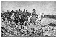 0350090 © Granger - Historical Picture ArchiveNAPOLEON BONAPARTE   (1769-1821). Emperor of France, 1804-1814. The retreat of the Grand Army from Russia, 19 October 1812. Engraving from a painting by Jean-Louis-Ernest Meissonier, c1864.