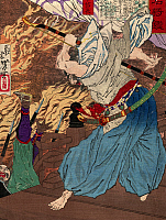 0114165 © Granger - Historical Picture ArchiveODA NOBUNAGA (1534-1582).   Japanese general and statesman of the Taira clan. Nobunaga fighting another warrior, whom he knocks off a building into a raging fire. Woodblock print by Yoshitoshi Taiso, c1885.