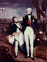0020564 © Granger - Historical Picture ArchiveHORATIO NELSON (1758-1805).   British naval officer. With one of his midshipmen at the moment of victory during the Battle of the Nile, 1798. Oil on canvas, 1798-1799, by Guy Head.