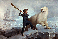 0025160 © Granger - Historical Picture ArchiveHORATIO NELSON (1758-1805).   British naval officer. 'Nelson and the Bear.' Nelson's conflict with a polar bear while serving as a midshipman on an Arctic expedition in 1773. Oil on oak panel, c1806, by Richard Westall.
