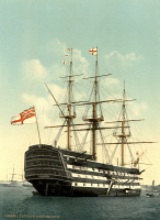 0325469 © Granger - Historical Picture ArchiveNELSON: HMS VICTORY.   A view of the HMS Victory, Lord Horation Nelson's flagship, Portsmouth, England. Photochrome, c1900.