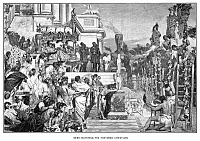 0002981 © Granger - Historical Picture ArchiveNERO (37-68 A.D.)   Emperor of Rome, 54-68 A.D. Nero watching the torture of Christians. Line engraving, late 19th century.
