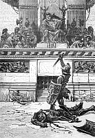 0005468 © Granger - Historical Picture ArchiveNERO (37-68 A.D.).   Emperor of Rome, 54-68 A.D.  Emperor Nero watching gladiatorial combat through a concavely-ground emerald serving as a lens to correct his myopia. Wood engraving, French, 19th century.