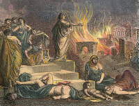 0010568 © Granger - Historical Picture ArchiveNERO PLAYING LYRE, 64 A.D.   Nero playing his lyre at the burning of Rome in 64 A.D. Engraving, 18th century.