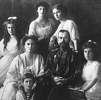 0063992 © Granger - Historical Picture ArchiveNICHOLAS II (1868-1918).   Czar of Russia, 1894-1917. Photographed with his family in 1913. Grand Duchesses Maria, Tatiana, Olga, and Anastasia are seated left to right; Tsarevich Alexei is seated in front.