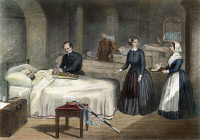 0008212 © Granger - Historical Picture ArchiveFLORENCE NIGHTINGALE   (1820-1910) at a military hospital during the Crimean War in 1855: oil over a contemporary English wood engraving.