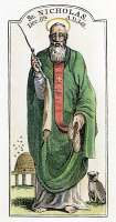 0049026 © Granger - Historical Picture ArchiveSAINT NICHOLAS (4th CENTURY).   Also known as Nicholas of Myra: wood engraving, American, 19th century.