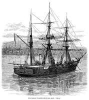 0089686 © Granger - Historical Picture ArchiveNORDENSKJÖLD: VEGA, 1880.   The steamship 'Vega' on which Baron Niels (Adolf Erik) Nordenskjöld navigated the Northeast Passage from the Atlantic to the Pacific Ocean, 1879-1880. Wood engraving, 1880.