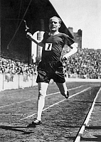 0034690 © Granger - Historical Picture ArchivePAAVO NURMI (1897-1973).   Finnish long-distance runner. Winning the 4 mile event at the British games at Stamford Bridge, 1931.