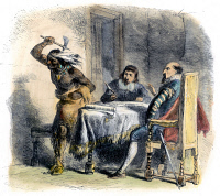 0080141 © Granger - Historical Picture ArchiveOPECHANCANOUGH   (c1546-c1646). Native American chief. Opechancanough making a violent gesture during negotiations with Sir Francis Wyatt, colonial Governor of Virginia, c1620. Wood engraving, 1877.