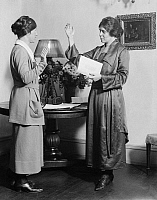 0114821 © Granger - Historical Picture ArchiveALICE PAUL (1885-1977).   American social reformer and founder of the National Woman's Party. Photographed with suffragist Catherine Flanagan, 1910s.