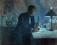 0020857 © Granger - Historical Picture ArchiveLOUIS PASTEUR (1822-1895).   French chemist and microbiologist. Pasteur in his laboratory. Fresco by Fournier.