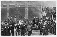0066880 © Granger - Historical Picture ArchiveLOUIS PASTEUR (1822-1895).   French chemist and microbiologist. Pasteur's funeral in Paris, 5 October 1895. Photogravure, 1897, after a painting by Jean Baptiste Édouard Detaille.
