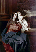 0061163 © Granger - Historical Picture ArchiveBARBARA PALMER (1640-1709).   Duchess of Cleveland, with her son, Charles Fitzroy as the Madonna and Child. Oil on canvas, after Sir Peter Lely, c1664.