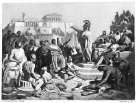 0028246 © Granger - Historical Picture ArchivePERICLES (d.429 B.C.).   Athenian statesman. The funeral oration of Pericles, after he was stricken with the plague. Photogravure, American, late 19th century, after a painting by Philipp von Foltz (1805-1877).
