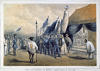 0008020 © Granger - Historical Picture ArchiveCOMMODORE MATTHEW PERRY   (1794-1858). American naval officer. Meeting the Imperial Japanese Commissioners in Yokohama, Japan, in 1853. American lithograph, 1856.