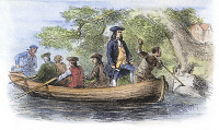 0059263 © Granger - Historical Picture ArchiveWILLIAM PENN (1644-1718).   English religious reformer and colonialist; founder of the colony of Pennsylvania. Penn voyaging up the Delaware River in 1682. Wood engraving, American, 19th century.
