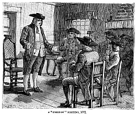 0323657 © Granger - Historical Picture ArchiveWILLIAM PENN (1644-1718).   Founder of the colony of Pennsylvania. At a Friends (Quaker) meeting in 1682. Wood engraving, American, 1883.