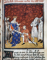 0029515 © Granger - Historical Picture ArchiveKING PHILIP IV OF FRANCE   (1268-1314). Known as Philip the Fair. King of France, 1284-1314. The Prince of Wales (later King Edward II of England) paying homage to King Philip IV of France in 1304. French ms. illumination, c1420.