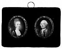 0127429 © Granger - Historical Picture ArchivePAUL I & MARIA FEODOROVNA.   Czar Paul I of Russia (left) and his second wife, Maria Feodorovna. Miniature paintings by Jean Guerin, late 18th century.