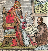 0066653 © Granger - Historical Picture ArchiveGIOVANNI PALESTRINA   (1525-1594). Italian composer. Palestrina presenting his First Book of Masses to Pope Julius III in 1554. Contemporary woodcut.