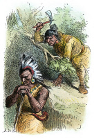 0011240 © Granger - Historical Picture ArchiveCHIEF PONTIAC (d.1769).   Native American Ottawa Chief. The death of Pontiac in 1769. Colored engraving, 19th century.