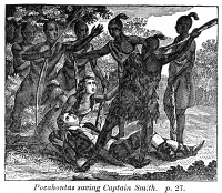 0079703 © Granger - Historical Picture ArchivePOCAHONTAS (1595?-1617).   Native American princess. Pocahontas saving the life of Captain John Smith, late December 1607. Wood engraving, c1830.