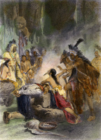 0079957 © Granger - Historical Picture ArchivePOCAHONTAS (1595?-1617).   Native American princess. Pocahontas saving the life of Captain John Smith, late December 1607. Steel engraving, American, c1870, after a painting by Alonzo Chappel.