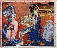0035196 © Granger - Historical Picture ArchiveMARCO POLO (1254-1324).   Venetian traveler. Marco Polo hears story of the Adoration of Kings from the Orient. English manuscript illumination, c1400.