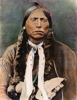 0074668 © Granger - Historical Picture ArchiveQUANAH PARKER (1845?-1911).   Kwahadi Comanche subchief. Oil over a photograph, 1895.