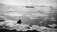 0175560 © Granger - Historical Picture ArchivePEARY EXPEDITION, c1908.   A ship and a canoe among ice floes during an Arctic expedition led by Robert Peary. Photograph by Matthew Henson, c1908.