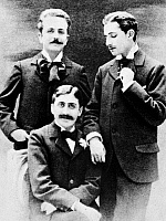 0018282 © Granger - Historical Picture ArchiveMARCEL PROUST (1871-1922).   French novelist. Photographed, seated, with Roger de Fleurs, left, and Lucien Daudet.